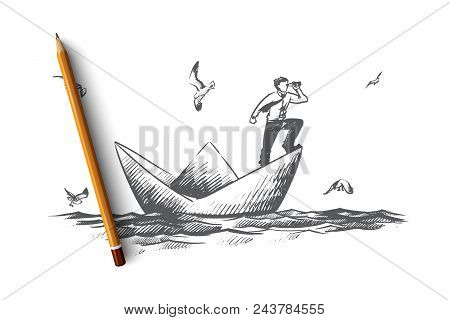 Business Vision Concept. Hand Drawn Businessman With A Spyglass Standing On Paper Boat And Looking F