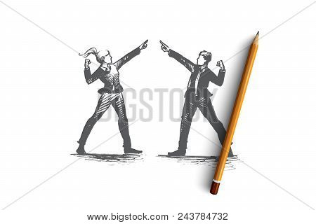 People Leader Concept. Hand Drawn Man And Woman Leaders. Business Victory People Isolated Vector Ill
