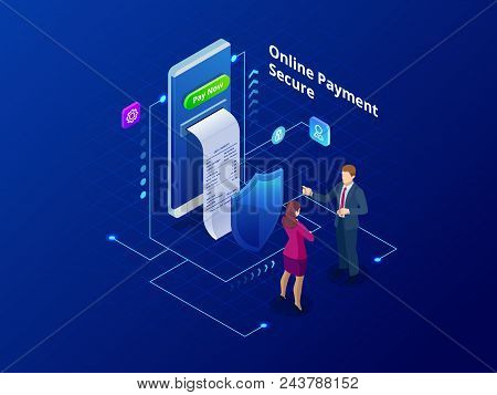 Isometric Online Payment Online Concept. Internet Payments, Protection Money Transfer, Online Bank V