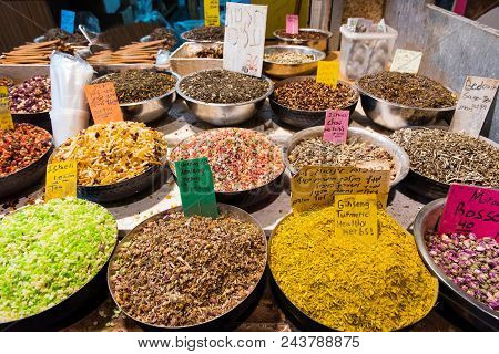 Baskets With Spices, Herbs, Dried Fruits In Market