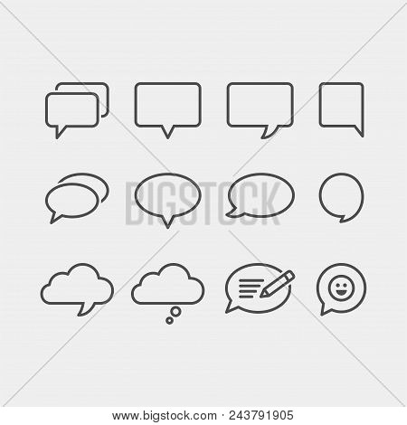 Speech Bubbles Flat Vector Icons Set. Chat Bubbles Flat Vector Icons Set