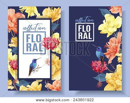 Vector Tropical Banners With Bright Flowers And Hummingbird On Dark Blue. Exotic Floral Design For C