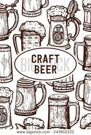 Vintage Engraving Style Craft Beer Menu Template. Retro Brewery Engraving. Craft Beer Local Brewery.