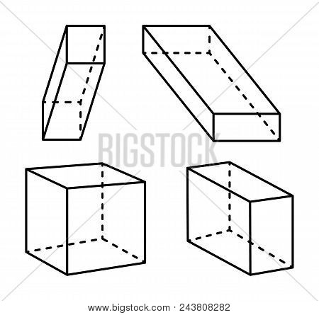 Cubes and cuboid collection forms, colorless poster and geometric 3D shapes, cube and cuboid set, vector illustration isolated on white background poster