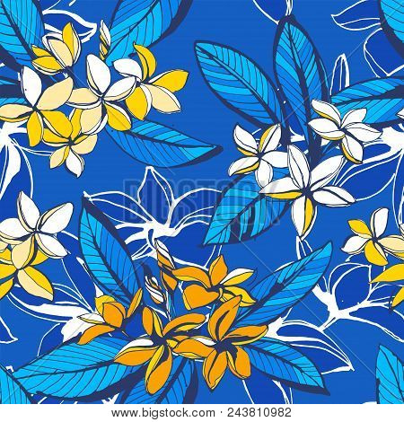 Vector Illustration Tropical Floral Summer Seamless Pattern Plumeria Flowers Palm Leaves. Ink Splatt