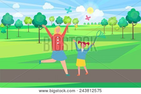 Vigorous Mother And Her Young Vibrant Daughter Chasing And Catching Colorful Butterflies With Net In