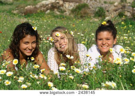 Beautiful Girls Relaxing In Meadow