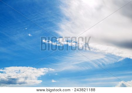 Blue Vast Sky Landscape With White Dramatic Clouds - Picturesque Vast Sky Landscape With White Cumul