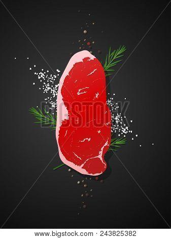 Raw Beef, Strip Loin Steak With Seasoning On Dark Background , Vector , Illustration