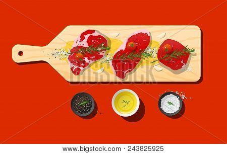 Raw Prime Beef Steaks, Rib Eye, Strip Loin, Tenderloin And Seasoning On Wooden Cutting Board, Vector
