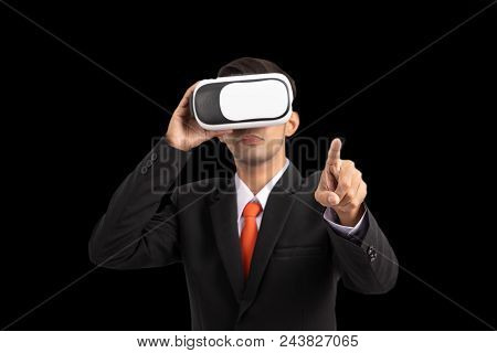 Business, People And Future Technology Concept , Business Professional With Vr Headset Pressing Virt