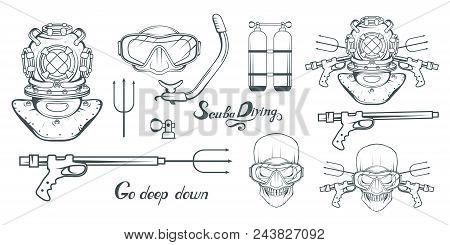 Set For Design On Diving. Scuba Diving Logo. Diver With Scuba . Scuba-diving Helmet. Skull In The Ma