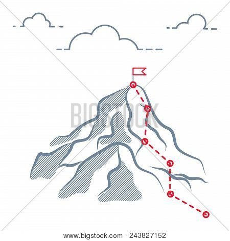 Mountain Business Journey Climbing Route To Peak. Mountain Success Path Route To Peak With Check Poi