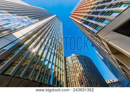 London, United Kingdom - April 19: View Of Modern Office Buildings In The City Of London Bank Financ