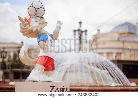 Moscow, Russia. May 31, 2018 The Official Mascot Of The 2018 Fifa World Cup And The Fifa Confederati