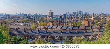London, United Kingdom - April 20: This Is A Panoramic View Of Greenwich Houses And City Buildings O