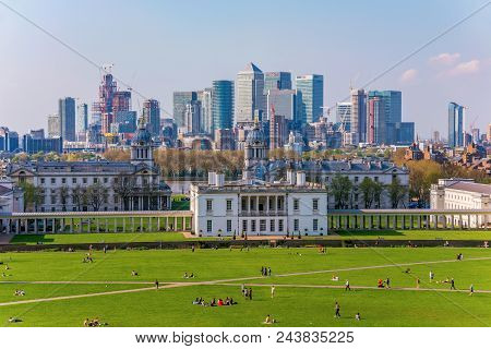 London, United Kingdom - April 20: View Of Greenwich Maritime Museum And  London Skyline From Greenw