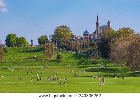 London, United Kingdom - April 20: View Of Greenwich Park, A Famous Park And Travel Destination In L