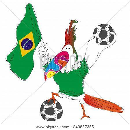 Soccer Mascot For Brazil.   Brazil Parrot Mascot For Football Tournaments.