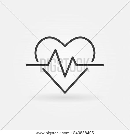 Heartbeat Vector Icon. Heart Rate Concept Outline Symbol Or Logo Element