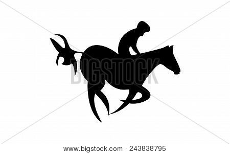 Simplified Horse Race. Equestrian Sport. Silhouette Of Racing Horse With Jockey. Jumping. Fifth Step