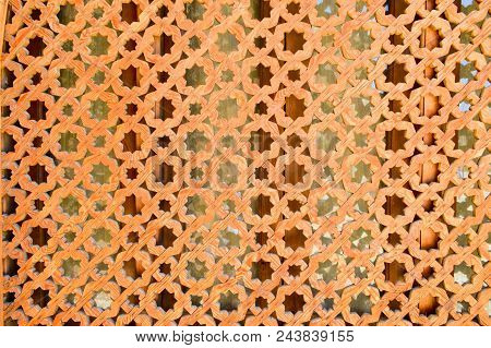 Texture Of Brown Old Ancient Beautiful Brick Carved Textured Arab Islamic Islamic Wall With Ornament