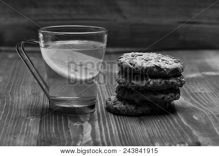 Tea And Biscuits. Traditional Snack For Tea Time. Drink And Homemade Goods Concept. Cookie Made Of O
