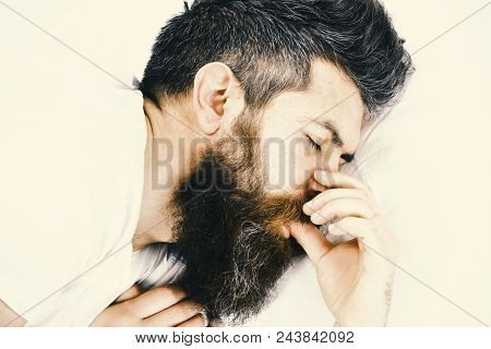Good Morning. Man With Sleepy Face Lies On Pillow. Deep Sleep Concept. Man With Beard And Mustache I