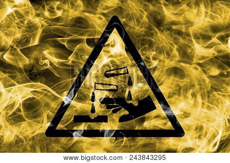 Corrosive Substances Hazard Warning Smoke Sign. Triangular Warning Hazard Sign, Smoke Background.