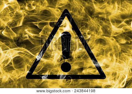 Generic Hazard Warning Smoke Sign. Triangular Warning Hazard Sign, Smoke Background.