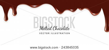 Dripping Melted Chocolates Isoalted. Realistic 3d  Illustration Of Liquid Chocolate Cream Or Syrup W