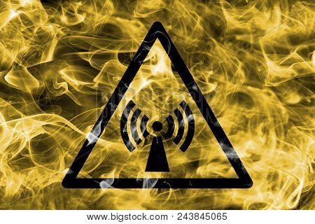 Non Ionizing Electromagnetic Radiation Hazard Warning Smoke Sign. Triangular Warning Hazard Sign, Sm