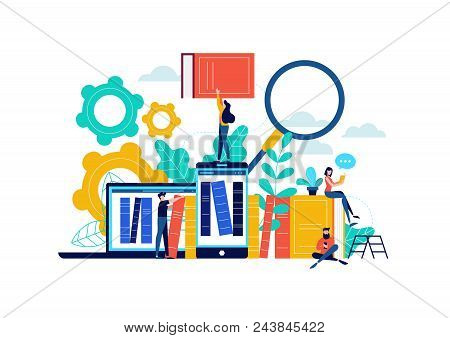 Virtual Book Library Illustration, People Studying For College Exam Preparation, Distance Learning P