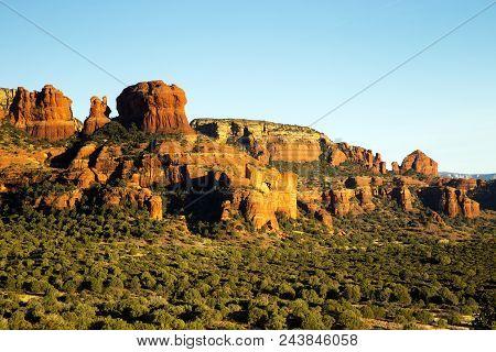 Beautiful Red Stone Cliffs Sedona, Arizona. Mouse Eating Muffin.