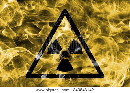 Radioactive Substances Or Ionising Radiation Hazard Warning Smoke Sign. Triangular Warning Hazard Si