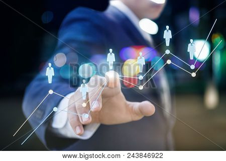 Businessman Clicks On A Visual Object. Concept Of Human Resources.
