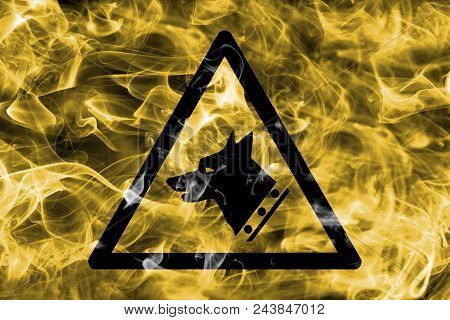 Watchdog Hazard Warning Smoke Sign. Triangular Warning Hazard Sign, Smoke Background.