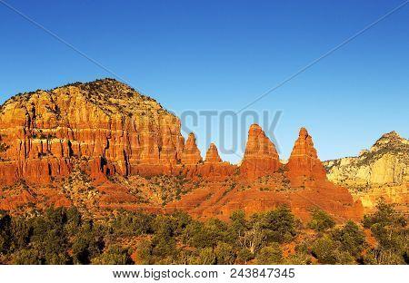 Beautiful Weathered Red Stone Cliffs Sedona, Arizona