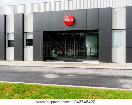 Vila Nova de Famalicao, Portugal - March 30, 2013: Visitor entrance of the new factory of the iconic Leica cameras in Portugal. Inaugurated in March 2013, after 40 years in the previous facilities.