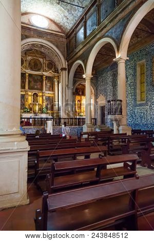 Obidos, Portugal - August, 2015: Interior of the medieval Santa Maria Church. Obidos is a medieval town inside walls, and very popular among tourists.