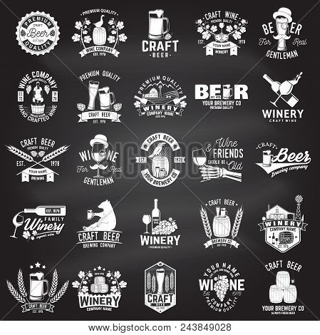 Set Of Craft Beer And Winery Company Badge, Sign Or Label. Vector On The Chalkboard. Vintage Design