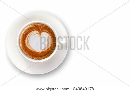Coffee Cup Isolate On White Background Toptable View.