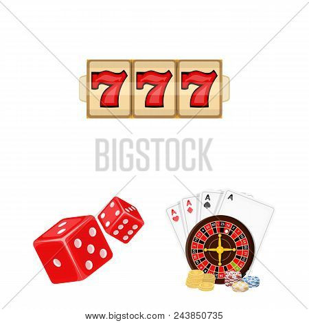 Casino And Equipment Cartoon Icons In Set Collection For Design. Gambling And Money Vector Symbol St