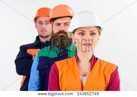 Team Of Architects, Builders With Calm Faces, Isolated White Background. Woman And Men In Hard Hats