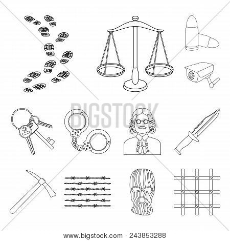 Prison And The Criminal Outline Icons In Set Collection For Design.prison And Attributes Vector Symb