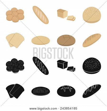 Toast, Pizza Stock, Ruffed Loaf, Round Rye.bread Set Collection Icons In Black, Cartoon Style Vector
