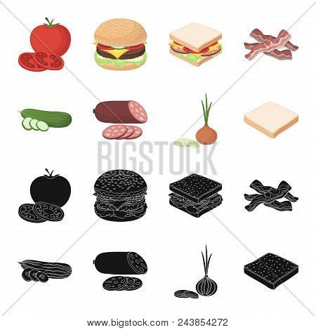 Burger And Ingredients Black, Cartoon Icons In Set Collection For Design. Burger Cooking Vector Symb