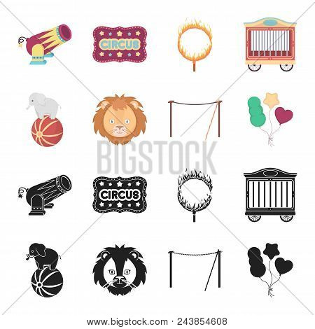 Elephant On The Ball, Circus Lion, Crossbeam, Balls.circus Set Collection Icons In Black, Cartoon St