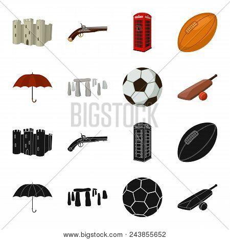 Umbrella, Stone, Ball, Cricket .england Country Set Collection Icons In Black, Cartoon Style Vector