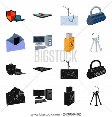 Virus, Monitor, Display, Screen .hackers And Hacking Set Collection Icons In Black, Cartoon Style Ve